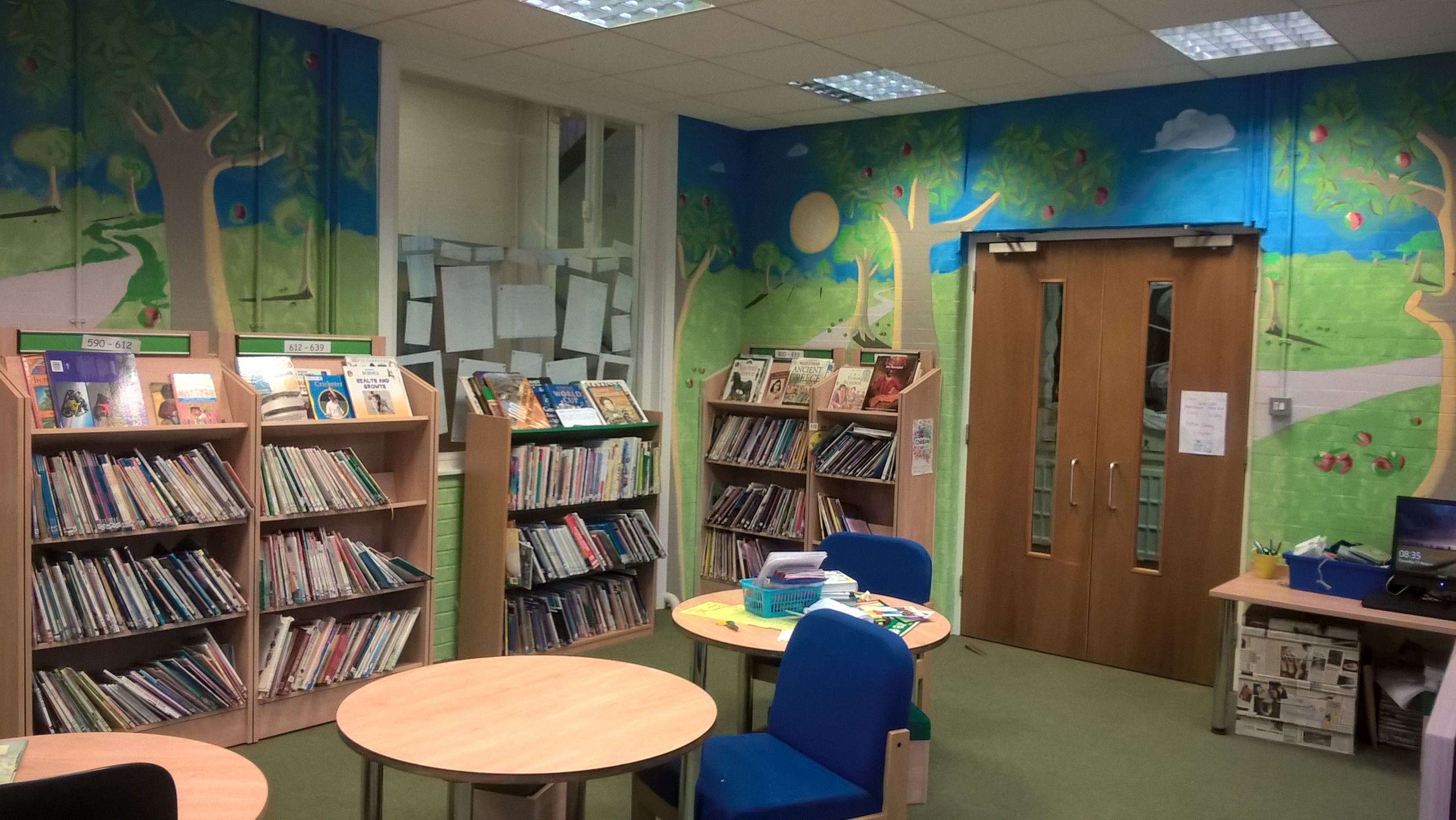 A woodland themed library